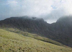 Scafell Pike (the highest) with Scafell on the right and Mickledore col in the middle