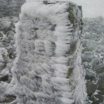 Summit of Scafell Pike with the Trig point covered in ice - John and Allan loved to go out when there was snow around