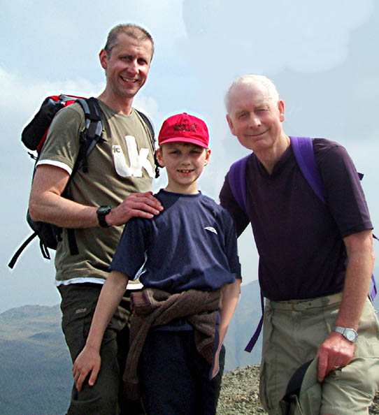 Mike (son) , Harrison (grandson) and Allan on the top of Scafell Pike two weeks before he died.