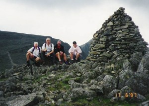 Allan, John, Peter and Jane Tessler (John's daughter who lives in America) on Lingmel with Scafell Pike in the background