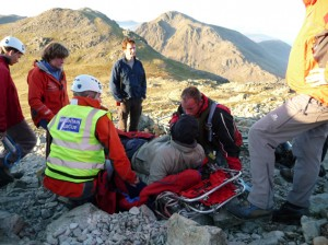 Casualty care being given on scene