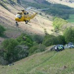 The casualty being winched into the helicopter