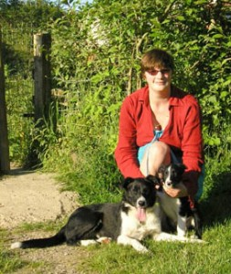 At home at Brackenthwaite -Lorraine with Millie and pup