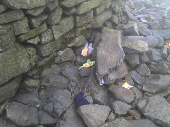 Rubbish on Scafell Pike
