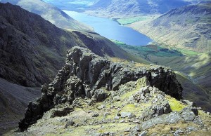 Pulpit Rock on Scafell Pike - not a place to wander to when the cloud comes down and you lose your bearings.