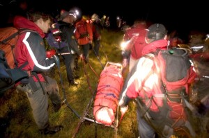 Carrying the casualty out on the Bell stretcher