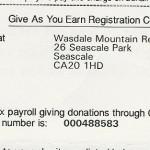 Give As You Earn Certificate