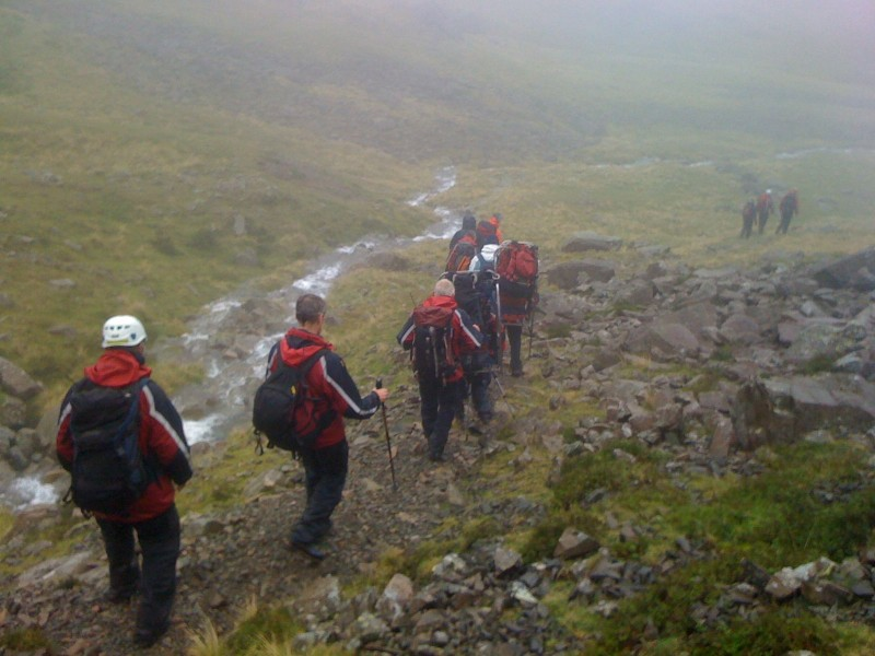 Following the top of Piers Gill on the way to Lingmell Col
