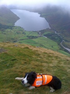 The view down to Brackenclose and Wastwater as we left the cloud at the top of Lingmell Nose