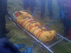 The casualty warmly wrapped up in the cas bag ready for the descent