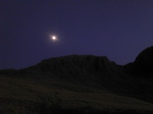 Moon over Pikes Crag