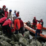 Preparing to transfer the casualty to the boat