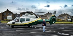 The Great North Air Ambulance in St Bees beach car park