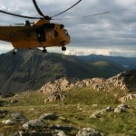 The Sea King returning to pick up from Scafell Pike