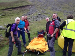 The stretcher ready for the casualty