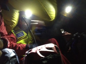 Inside the bivi tent whilst rewarming the casualty