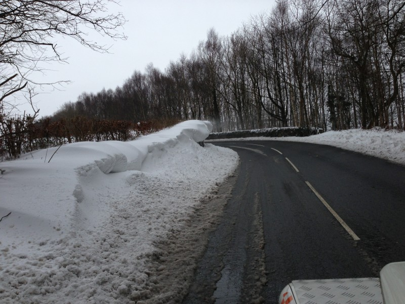 A cornice over the A595 at Muncaster