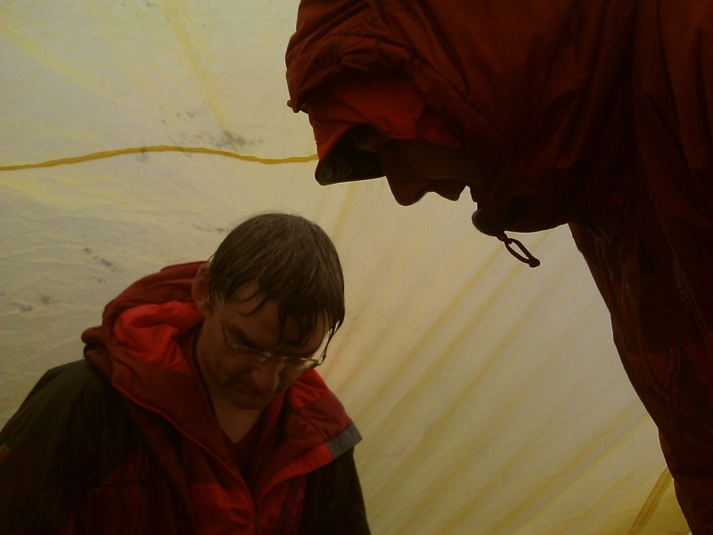 Inside the bivvy tent