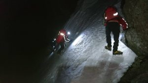 Icy conditions beneath the East Buttress